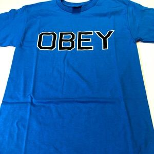 Obey Mens Size Small Sky Azure Blue T-Shirt